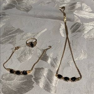 14k gold & black onyx set w/ diamond accents